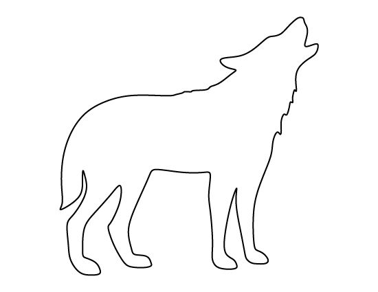 Howling wolf pattern. Use the printable outline for crafts, creating stencils, scrapbooking, and more. Free PDF template to download and print at http://patternuniverse.com/download/howling-wolf-pattern/