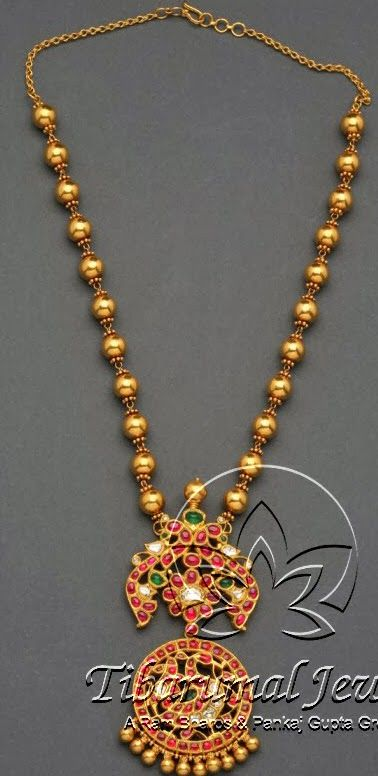 Jewellery Designs: Gold Balls Temple Set