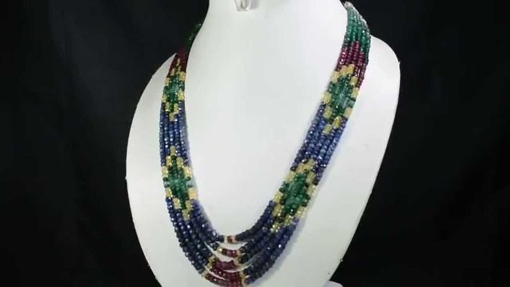 5 Strands Natural Ruby Emerald Sapphire 363ct Multi Row Gemstone Beads N...