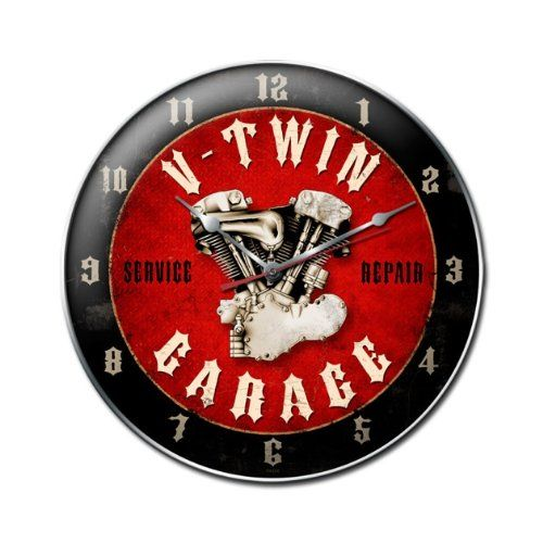 Special Offers - V-Twin Garage Vintage Metal Clock Shop Serive Repair Garage 14X14 Steel Not Tin - In stock & Free Shipping. You can save more money! Check It (November 07 2016 at 10:39AM) >> http://wallclockusa.net/v-twin-garage-vintage-metal-clock-shop-serive-repair-garage-14x14-steel-not-tin/