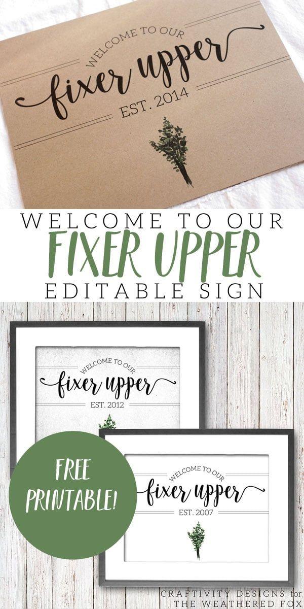 to Our Fixer Upper (Free Printable Farmhouse