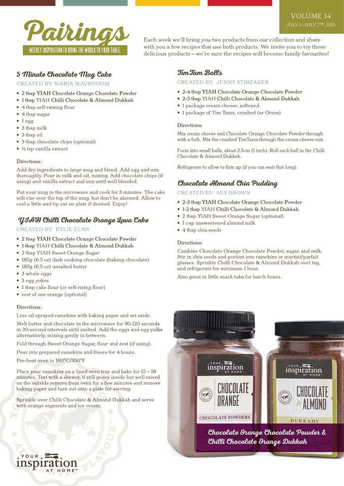 Choc orange Choc powder and Choc & Almond Dukkah recipe ideas.