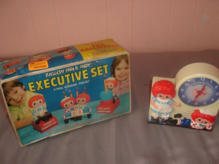 Raggedy Ann Andy Janex Wind-Up Talking Alarm Clock & Executive Desk Set,ALL Work #Janex