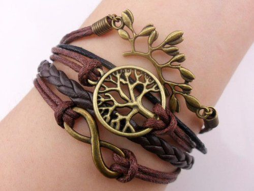 Bronze Branch Infinity 8 Wish Tree Karma Bracelet Leather Rope Knit Weave Bangle on Wanelo