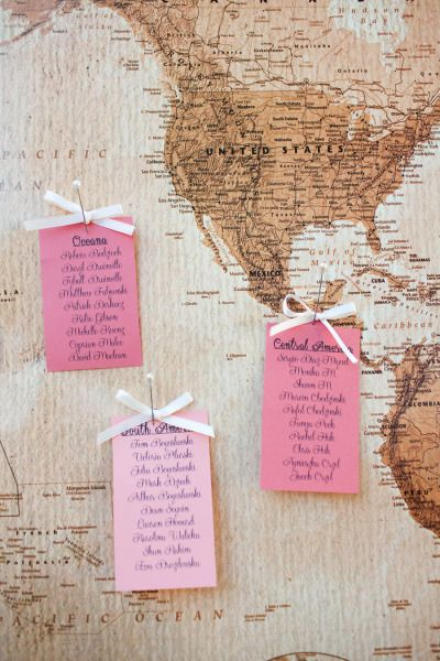 Amazing idea for an escort card display - great for the world traveler