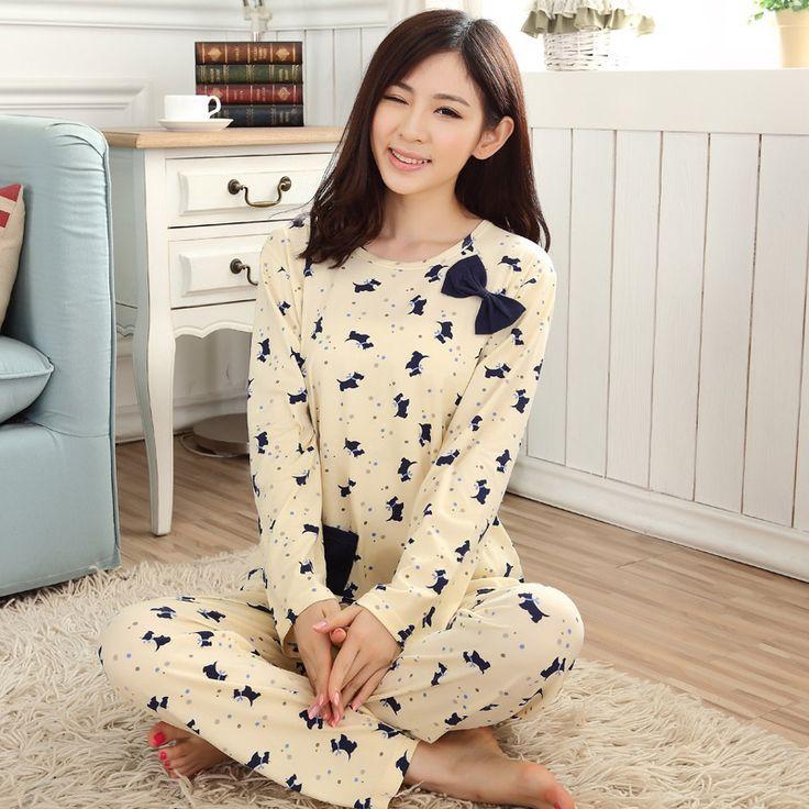 Comercio al por mayor Pijama de Manga Larga de las mujeres ropa de Noche de Otoño primavera 2017 Delgada SEDA de la LECHE Encantadora Pijamas de Las Mujeres Usan El Hogar