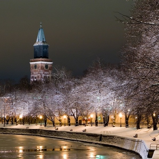 Turku, Finland. Looks like a scene from a Christmas card here. I was there in the summer and even swam in the Baltic, which was much warmer than the north Atlantic waters I was more used to!