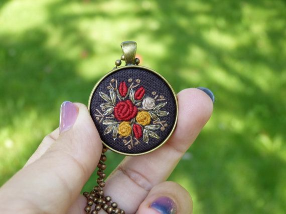 Floral embroidered necklace pendant by EmbroideredJewerly on Etsy