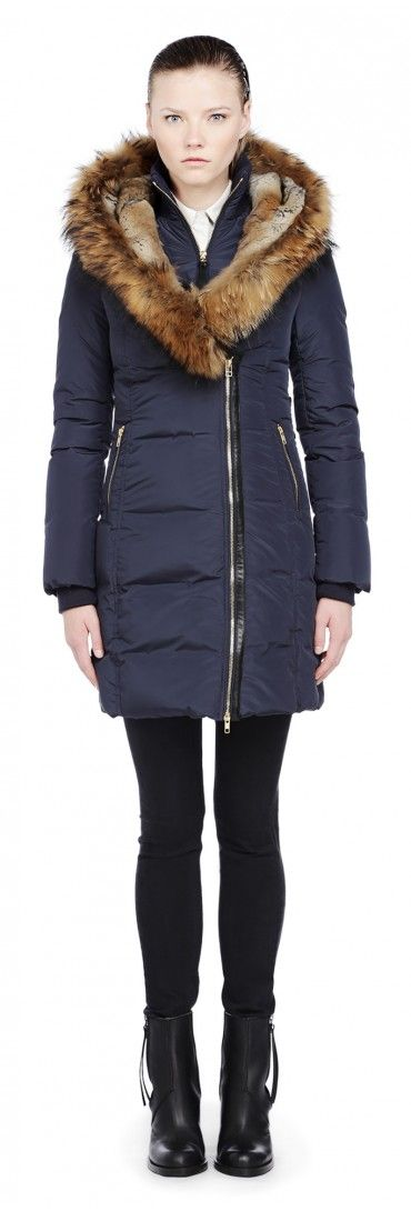 Mackage - TRISH-F3 LONG INK DOWN JACKET WITH NATURAL FUR