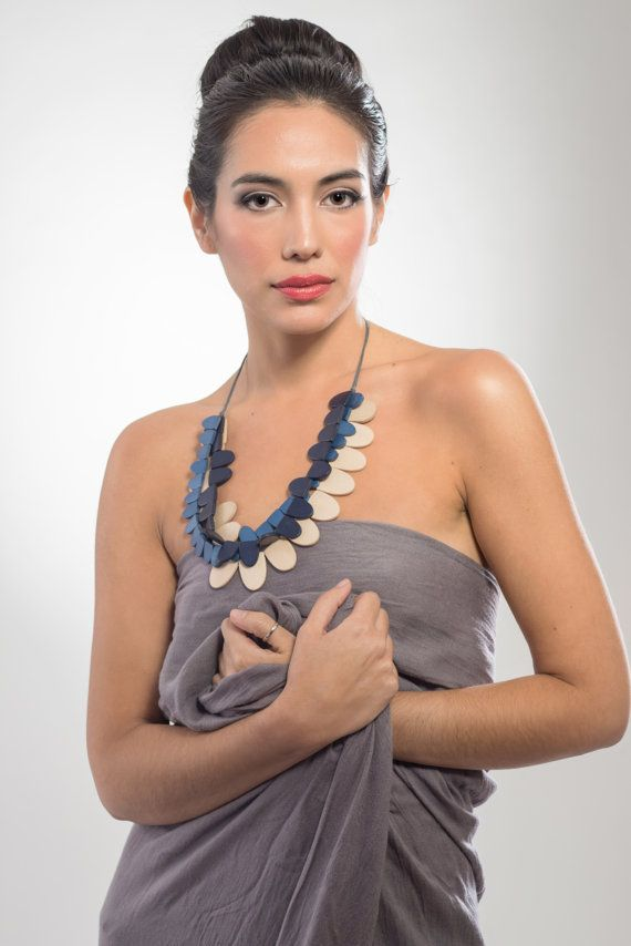 Three strand wooden necklace blue navy and natural by LauraRosa