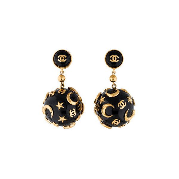 Chanel Star and Moon Drop Earrings (£295) ❤ liked on Polyvore featuring jewelry, earrings, clasp earrings, star jewelry, gold tone jewelry, gold tone drop earrings and logo earrings
