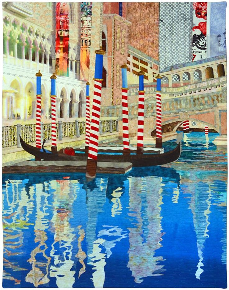 First Place:  Wall Quilts – Stationary Machine Quilted. THE VENETIAN by Jan Soules. AQS QuiltWeek 2017 – Lancaster.