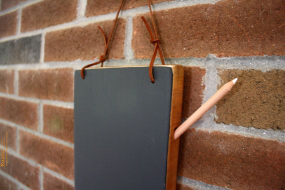 Kitchen Chalkboard- Hanging Chalkboard Tablet - Medium Cherry with Leather strap - Unique Birthday Gift on Etsy, $28.00