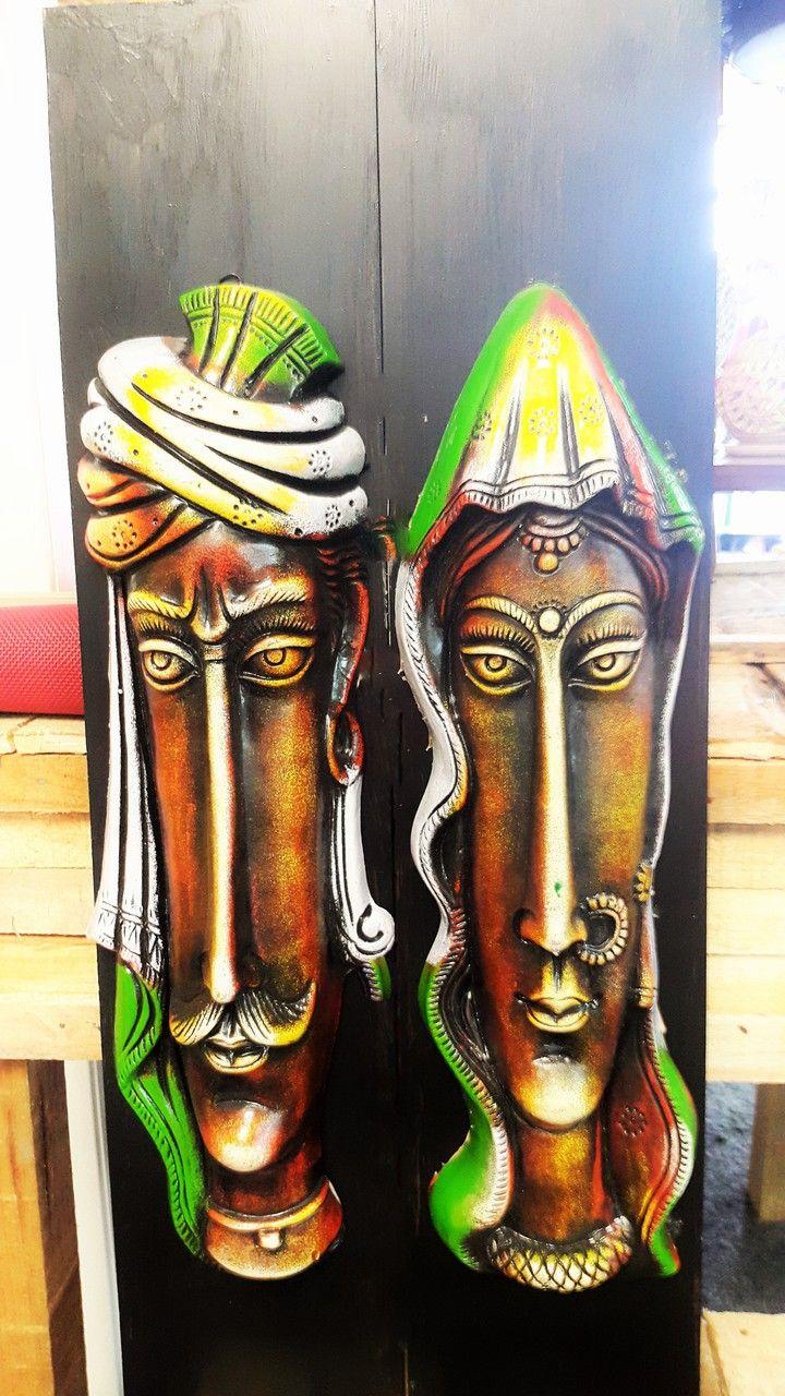 Wall art.Terracotta rural couple. Kabchi's.