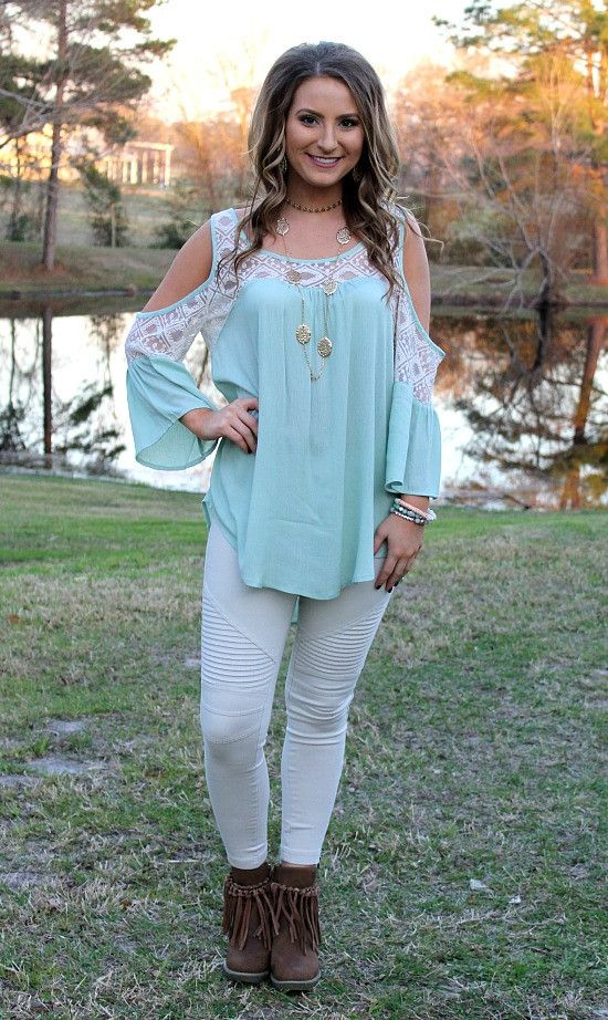 All For You Open Shoulder Top in Mint – Giddy Up Glamour Boutique