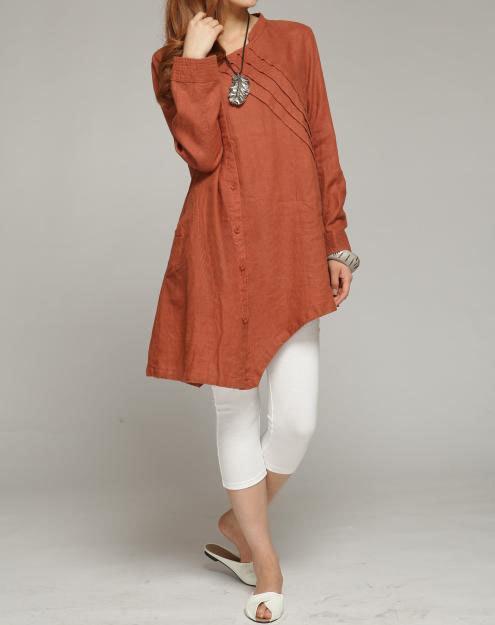 Tilt pleated collar linen asymmetric long shirt by MaLieb on Etsy, $89.00