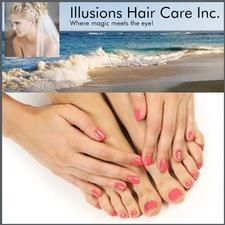 Half Price Manicure, Pedicure & Shampoo & Blow-dry at Illusions Hair Salon Inc. in Foster Square-Brewster