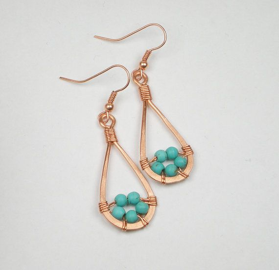 Cooper Wire wrapped earrings, Turquoise howlite earrings