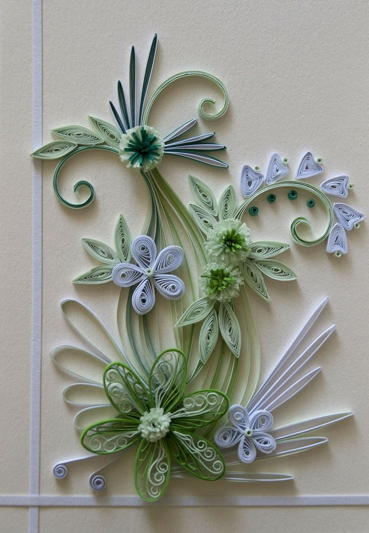 neli: Quilling card white and green