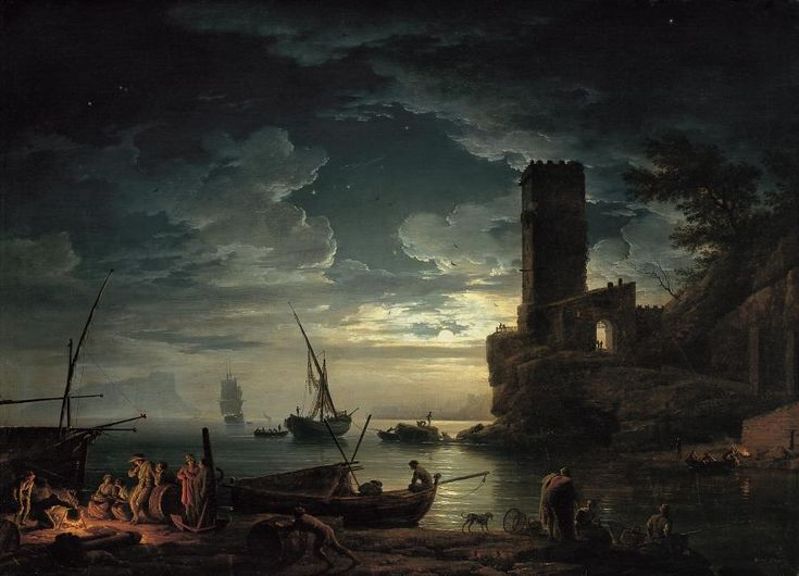 Museoteca - Noche: escena de la costa mediterránea con pescadores y barcas…