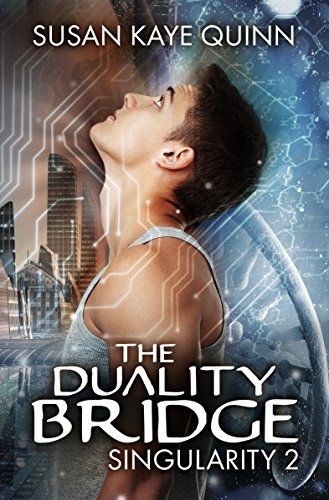 The Duality Bridge (Singularity Book 2) by Quinn, Susan Kaye - What does it mean to be human? Elijah Brighton is the face of the Human Resistance Movement. He's the Olympic-level painter who refused an offer of immortality from the ascenders—the human/machine hybrids who run the world—in solidarity with the legacy humans who will never get a chance to live forever.  Too bad it's all a complicated web of lies.  Worse, Eli's not even entirely human. Few know about the ascenders' genetic…
