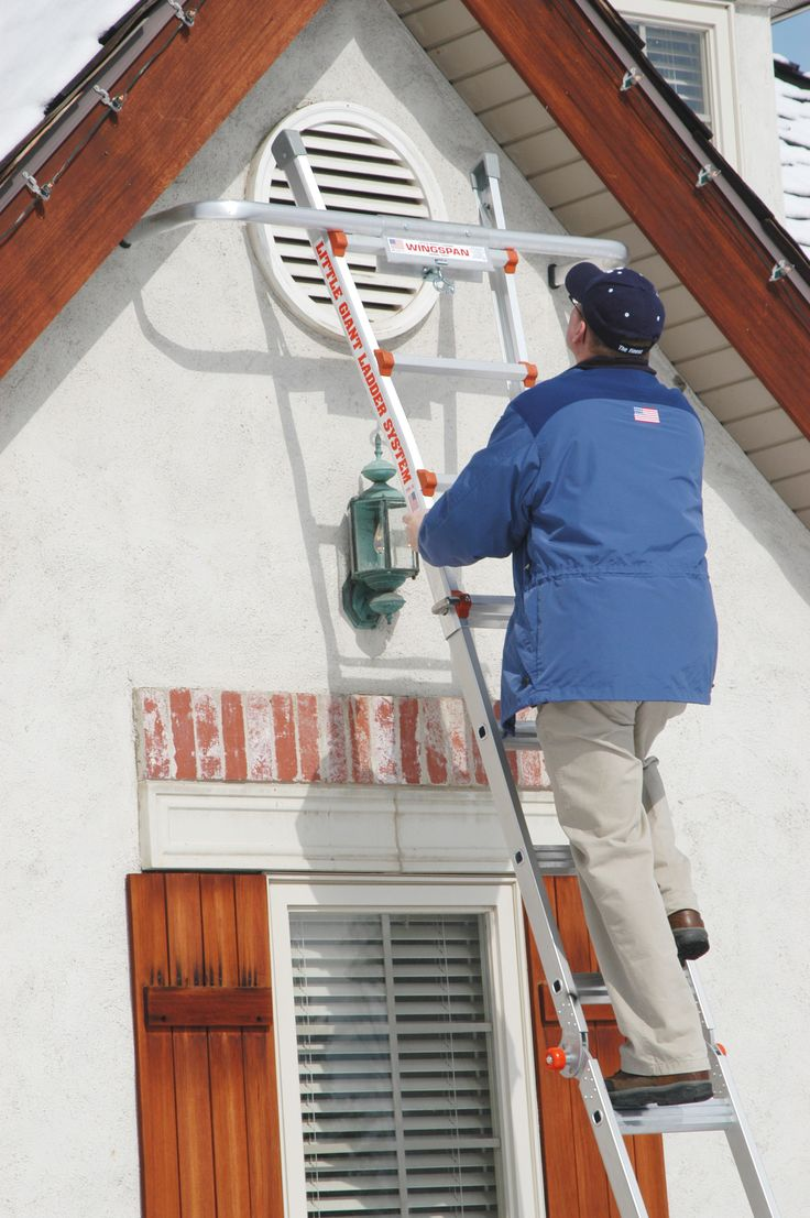 Here's our WingSpan™ ladder standoff accessory in action. Helpful yearround on ladders to give added stability and versatility.