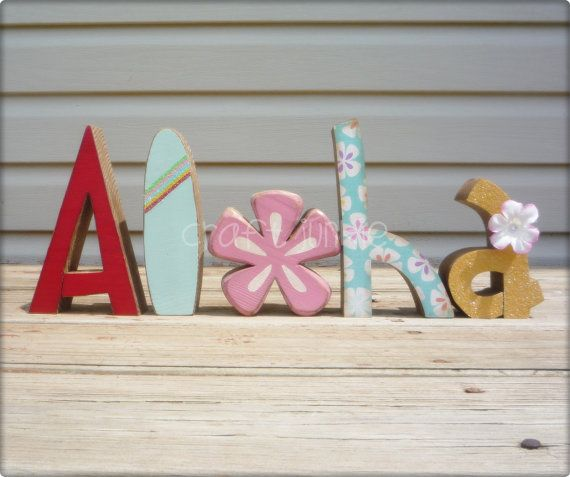 Aloha letter set with Pink Hibiscus flower and by craftjunkie28, $28.00