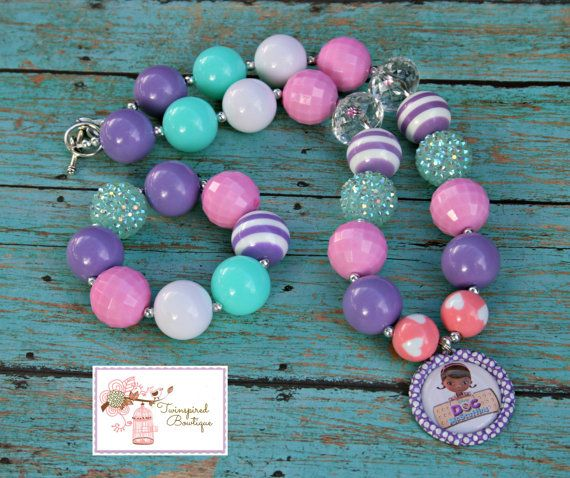 Bubblegum Beads Kids Necklace Pink Aqua Doc McStuffins Chunky Girls Necklace Bottlecap Pendant Free Bracelet on Etsy, $18.00