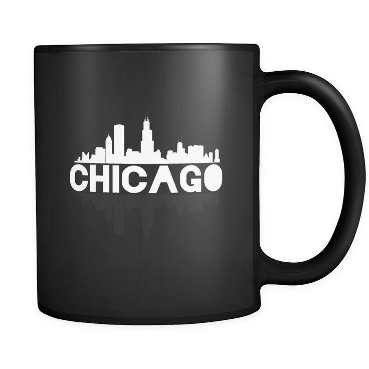 Chicago City Skyline Landmark U.S.A Souvenir Travel Black 11oz