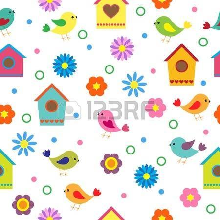 Colorful seamless avec des oiseaux et nichoirs photo