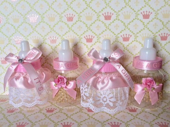 12 Shabby chic baby bottles rustic baby by Marshmallowfavors