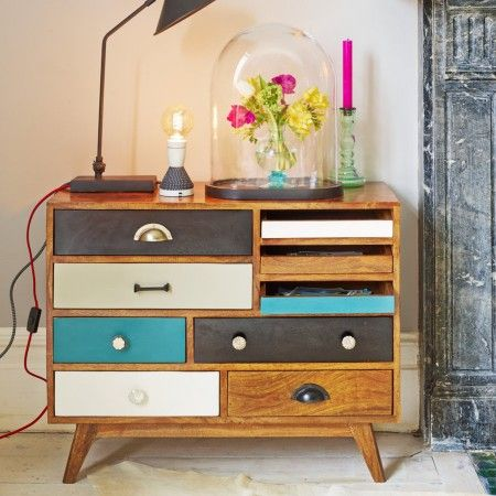 The 'Darwin' Chest of Drawers is a practically perfect small storage solution. With its 3 traditional shallow letter-writing trays, perfect for envelopes and notelets and 6 drawers presented in a cool pallet of sea blue, black & white with a collection of horn, bone, metal & wooden knobs & handles. It's ideal for storing just about any