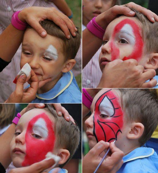 Maquillaje infantil de Spiderman paso a paso