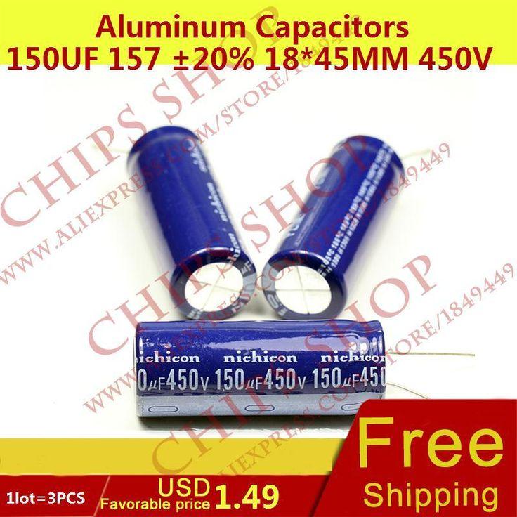 1 PARTIJ = 3 STKS Aluminium Condensatoren 150 uF 157 20% 18*45mm 450 V 150000nF 150000000pF Diameter18mm