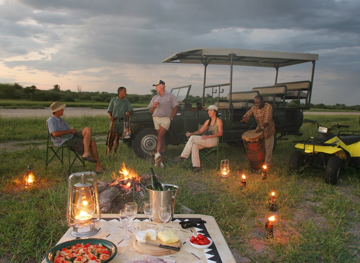 Sundowners on game drive  #kalahari #botswana #safari #africa #travel #bushmen #desert #bigfive #wildlife #animals #lodgeaccommodation #gameviewing