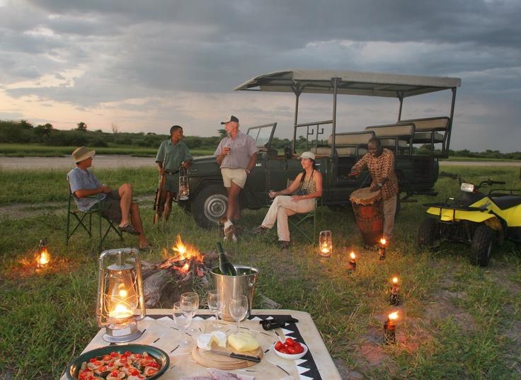 Sundowners on game drive  #kalahari #botswana #safari #africa #travel #bushmen #desert #bigfive #wildlife #animals #lodgeaccommodation #gameviewing
