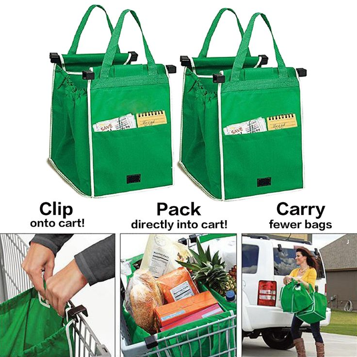 Clip To Cart Shopping Bag Foldable Tote Handbag Convenient Storage Package Reusable Trolley Grocery Bags #Affiliate
