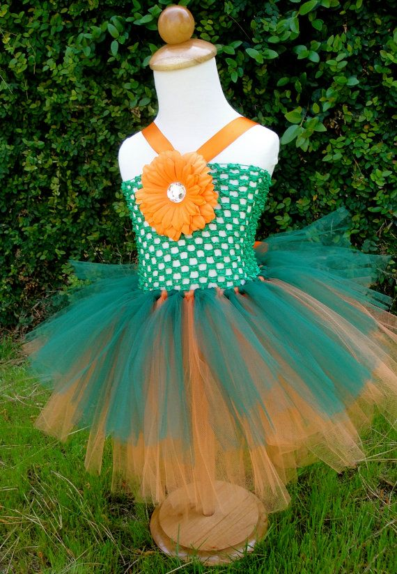 Baby girl Green and orange Pumpkin tutu dress by Hollywoodtutu, $30.00