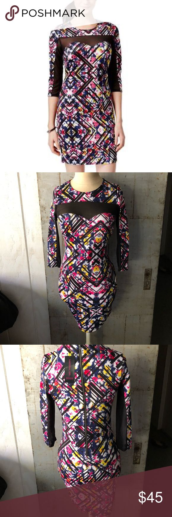 """Multi colored body-con dress Multi colored body-con dress with mesh Material: Body: 96% polyester 4% spandex Contrast: 97% polyester 3% spandex Length xs: 35"""" M 36"""" Brand: material girls via Macy's  📊Use size chart for fit  🚫modeling or trades (askers will be ignored) or lowballing LC ✅ will consider offers made through BLUE offer button.   ✅ bundle 3 or more items for a custom offer using bundle feature 🌻 Social media: Business Instagram @lovelyinlilacofficial Macy's Dresses"""
