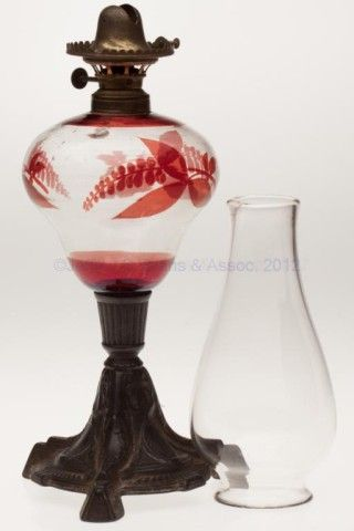 """RUBY STAINED STAND LAMP, colorless pyriform font with floral patterned staining, cast iron triangular-form base, No. 1 fine line collar. Fitted with a period No. 1 lip burner, thumbwheel marked """"PAT.DEC10.1867 AUG.29.1882"""", and lip chimney. Third quarter 19th century. 9 1/2"""" H to top of collar, 5 1/4"""" DOA base. <br><i>Undamaged, font with some minute wear and light interior residue. Burner undamaged, chimney fitter with several flakes.</i&gt..."""