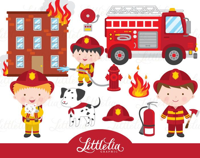 Firefighter clipart Fire clipart 1521 by LittleLiaGraphic