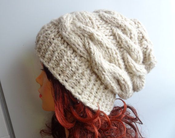 women slouchy - beanie hat - Slouch Beanie - Large hat - chunky hat - Chunky Knit Winter Fall Accessories  Knit Cable hat  -oatmeal on Etsy, $30.00