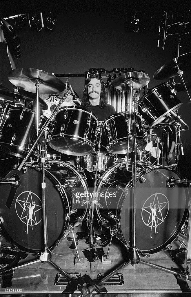 Neil Peart, drummer with Canadian rock band Rush, behind his drumkit during a soundcheck ahead of the band's gig at the Gaumont in Southampton, Hampshire, England, United Kingdom, 13 May 1979.