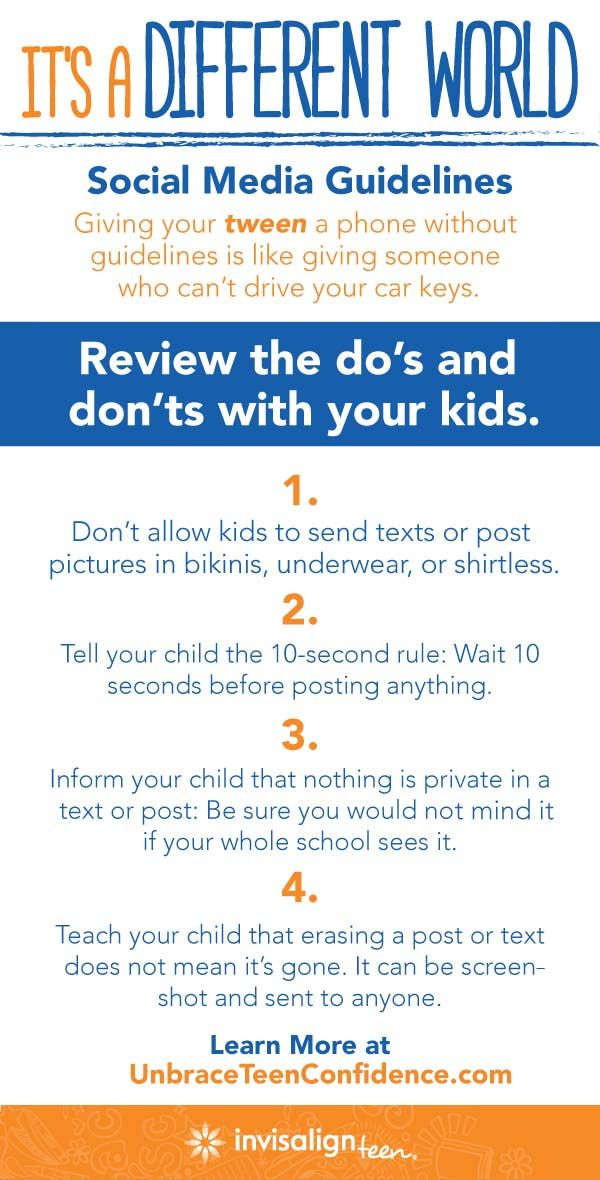 Teach your tweens how to use social media by giving them phone guidelines. Share these do's and don'ts with your tweens so they use social media responsibly and with confidence. For more parenting tips, go to http://bit.ly/1c5Ejbu. #UnbraceConfidence