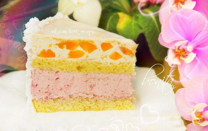 Бисквитный торт с персиковой и вишнёвой творожной начинкой