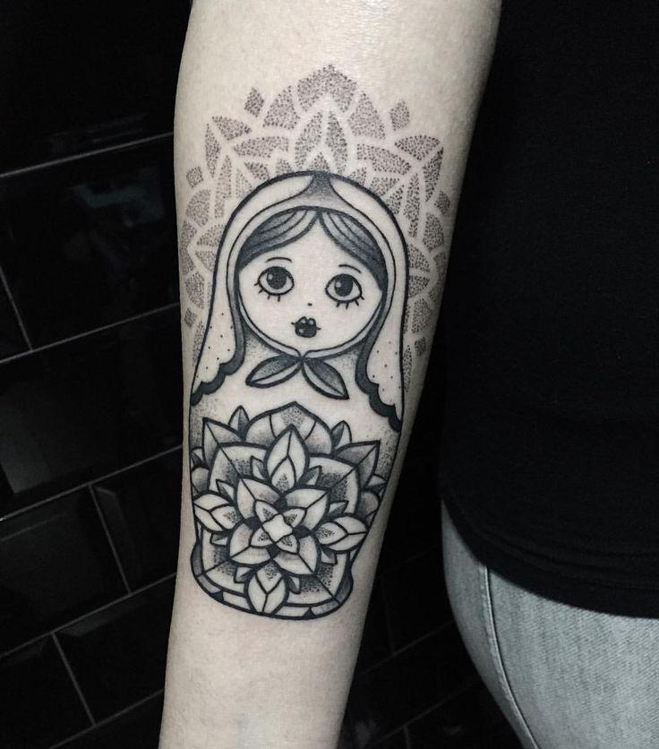 Matrioska tattoo with mandala dotwork Tattoo artist Miss Sita Follow on instagram @misssita