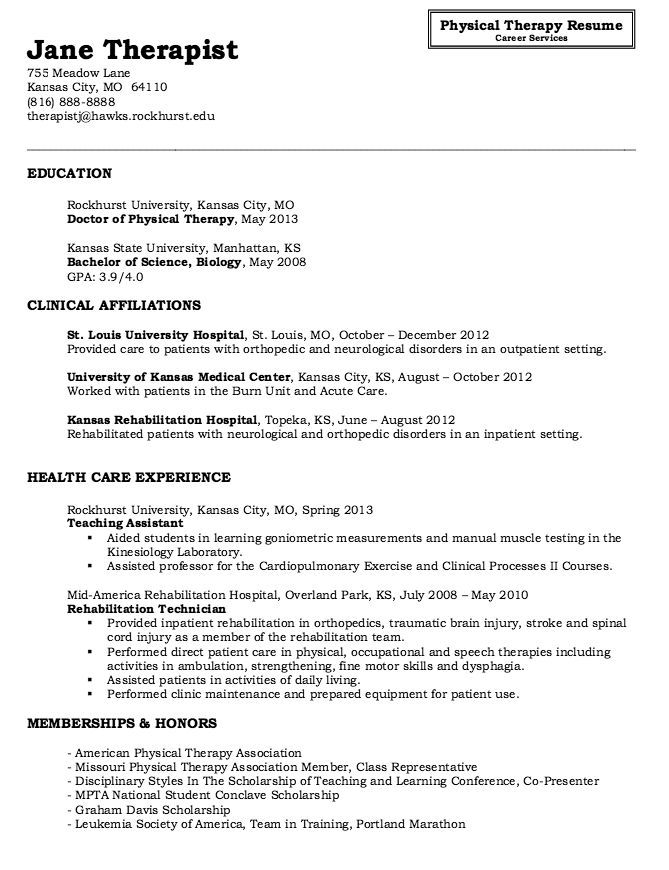 physical therapy resume sample back