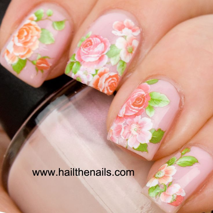 English Rose Nail Art Water Transfer Decal Pink & Peach. £1.99, via Etsy.