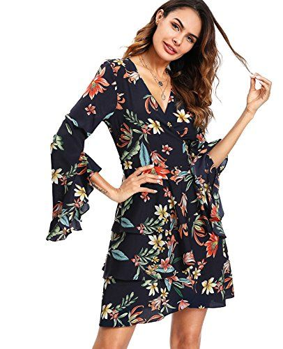 c0b6cbbef0f Milumia Women s Flounce Sleeve Tiered Wrap Floral Print Short Dress.Feature   Round Neck