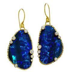 Barbara Heinrich Breathtaking Matched Black Opal Doublet Diamond Drop Earrings